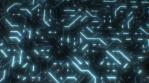 Futuristic Sci-Fi Electricity Flows in Circuit Board Digital Lines