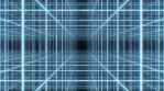 Retro 80s Neon Light Wireframe Grid Cube Array Synthwave 3D Tunnel