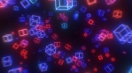 Ultraviolet 3D Neon Laser Cubes and Retro 80s Synthwave Glow Lights