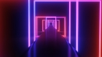 Ultraviolet Tunnel of Futuristic Neon Light Square Laser Reflection