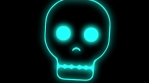 digital skulls cool neon borders floating colorful rotation and zoom in and out 4k 08