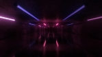 Flashing Neon Lights Tubes in Concrete Tunnel Rave Glow Reflections