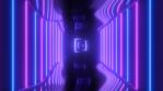Ultraviolet Neon Laser Beams Glowing Reflection Sci-Fi Retro Tunnel