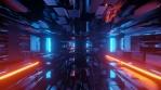 Sci Fi Tunnel  Reflections Bricks Glowing Orange Blue