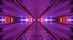 Sci Fi Tunnel Reflections Glowing Purple Orange