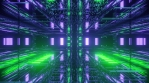 Sci Fi Tunnel Reflections Glowing Green Pink