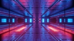 Sci Fi Tunnel Reflections Glowing Red Blue