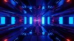 Sci Fi Tunnels Blue Red Reflections