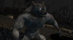 Seamless animation of a werewolf running in a graveyard. Funny cartoon character for Halloween backg