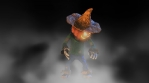 Seamless animation of a idle standing scarecrow with fog. Funny cartoon character for Halloween back