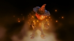 Seamless animation of a idle standing scarecrow with fog and fireflies. Funny cartoon character for