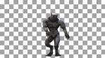 Seamless animation of a werewolf sexy dancing isolated with alpha channel. Funny cartoon character f