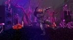 Seamless animation of a werewolf dancing swing in a party in a graveyard. Funny cartoon character fo