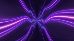 Abstract Curved Wave Neon Lights Glow Dark Tunnel Hallway Reflection