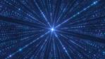 Futuristic Digital Matrix Grid of Technology Big Data Glow Particles