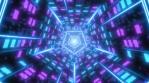 Sci-Fi Flashing Neon Lights Reflective Abstract Retro Pentagon Tunnel