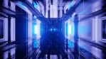 Sci Fi Tunnel Glowing Blue Reflections