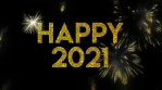 Happy 2021 Glitter text with fireworks Animation