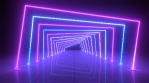 Ultraviolet Abstract Neon Light Tunnel Squares Glow