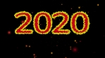 HAPPY NEW YEAR 2020 2021 red and yellow balls EXPLOSION