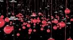 red christmas tree balls with merry christmas 4k
