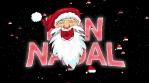 santa bon nadal animacio amb particules de barrets i estrellas 4k