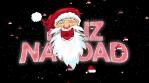 santa feliz navidad animacion con particulas de sombreros y estrellas 4k