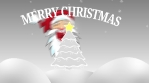 merry chistmas tree with santa, star and snow outdoors 4k grey scale and red
