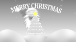 merry chistmas tree with santa, star and snow outdoors 4k grey scale
