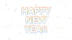 happy new year confetti glow 4k white background