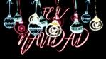 feliz navidad con bolas de navidad colgando con glow y fondo negro