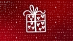 christmas gift icons coming and rotating glow dark red icons and light