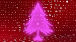 christmas tree colorful glow shape with christmas icons red background