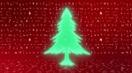 christmas trees jumps and rotates colorful glow shape with christmas icons red background