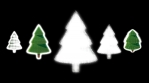 christmas trees shapes and patterns glow green shilouette black background 02