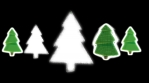 christmas trees shapes and patterns glow green shilouette black background