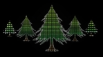 christmas trees shapes and patterns glow green shilouette black background 03