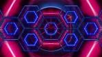 Geometric hexagon patterns with neon lights