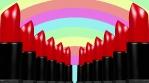 Pastel rainbow with red lipstick columns 4k 00