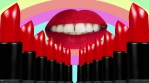 Sexy lips over pastel rainbow and red lipstick columns 4k 04