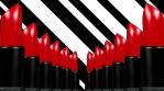 Red lipstick columns over stripes background 4k 05