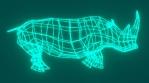 Wireframe Rhino Underwater