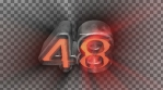 59 to 0 countdown elastic 3d 4k black and orange volumetric lights alpha channel