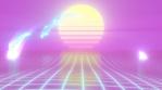 Aesthetic Vaporwave Dolphins Jump Over CGI Retro 90s Sun Grid Ocean