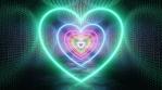 Neon Rainbow Love Heart Shape Shiny Reflections in Metal Tunnel Glows