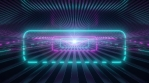 Pink Blue Neon Laser Beam Glows in Reflective Stripe Line Tunnel Room