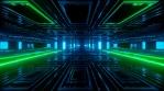 Glowing green and blue sci fi tunnel