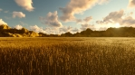 Autumn view, yellow grass, blue sky with clouds, morning sun and mountains in the distance.