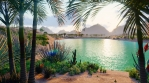 An amazing fantasy oasis in the desert. Clear day. Distant mountains, sand dunes, palm trees
