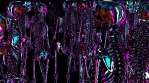 Futuristic seamless animation of skeletons. Neon glossy elegant background of humanoid or artificial